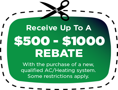 rebate graphic Atlas Heating and Air Conditioning Inc HVAC contractor Augusta GA